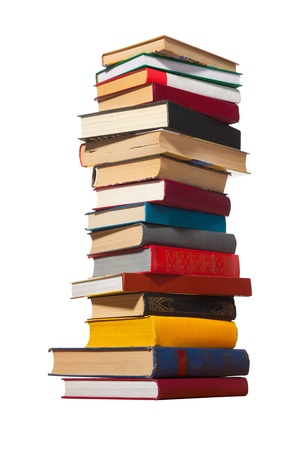 stacked books: Pile of books on white background. Stock Photo