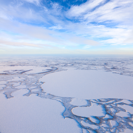 Aerial view above the endless snow covered tundra in time of short winter day.