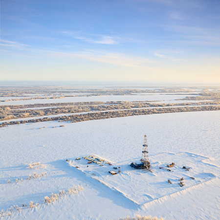 overhand: Aerial view of oil rig at an oil field in Western Siberia in the winter