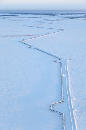 weather: The route of the gas pipeline in Western Siberia in winter, view from above