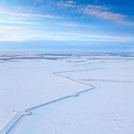 pipeline: The route of the gas pipeline in Western Siberia in winter, view from above