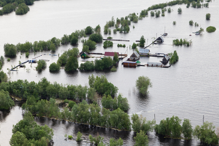 aerial: Flooded houses in vicinity of Great river