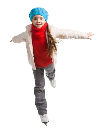 pretty cheerful little girl in thermal suits skating, isolated on white
