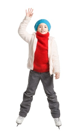 7 9 years: pretty cheerful little girl in thermal suits skating, isolated on white