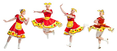 white russian: Girl dances in stylized national russian dresses on white background. Stock Photo