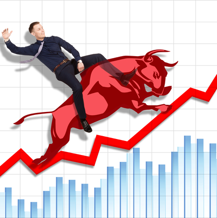 bullish market: Businessman is on the jumping red bull on red arrow downward trend line on background of  graphic of  fund. Fight back bullish market concept.