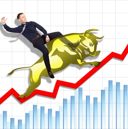 bullish market: Businessman is on the jumping gold bull on red arrow downward trend line on background of  graphic of  fund. Fight back bullish market concept.