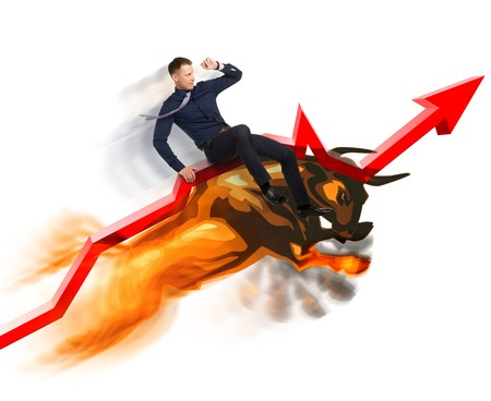 bullish market: Jumping bull carries Stock Exchange broker up on red line of growing trend on white background.  Active sales in bullish market concept.