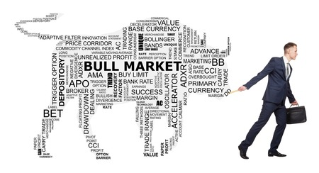finance concept: Conceptual cloud of word trend of stock exchange, as the silhouette of a big bull that follow for the young broker.