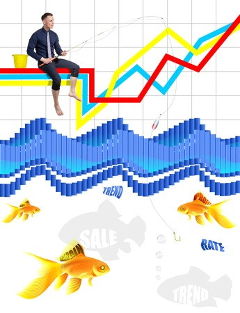 grows: Young broker as a successful angler catches a golden fish in the sea of information and schedules on the stock exchange. Stock Photo