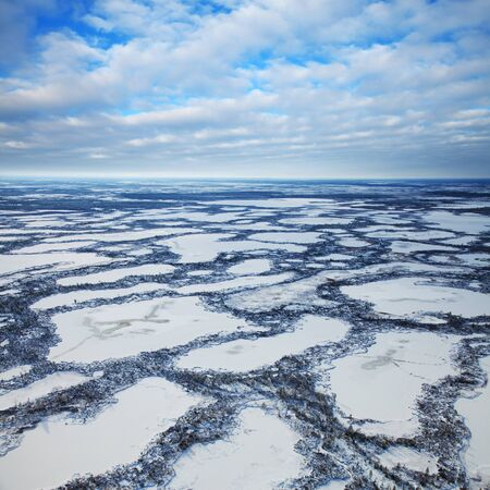 swampy: Aerial view swampy area during frosty winter day. Stock Photo