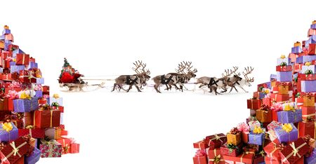 Santa riding his sleigh with reindeers illustration