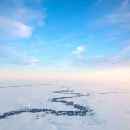 duskiness: Short frosty day of winter tundra, top view Stock Photo