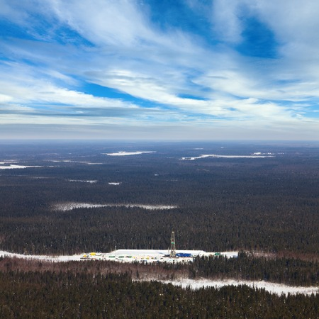 Aerial view of oil rig at an oil field in Western Siberia in the winter