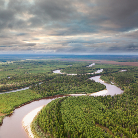 Aerial view of forest river which winds on woodland during a flight in the cloudy summer day.