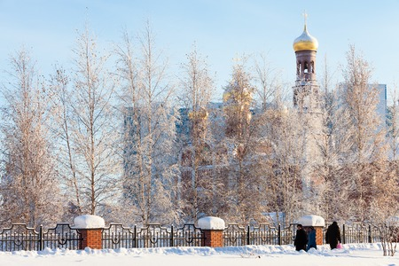 Church of the Nativity in the city of Nizhnevartovsk in the days of Christmas. Western Siberia, Russia. Stock Photo