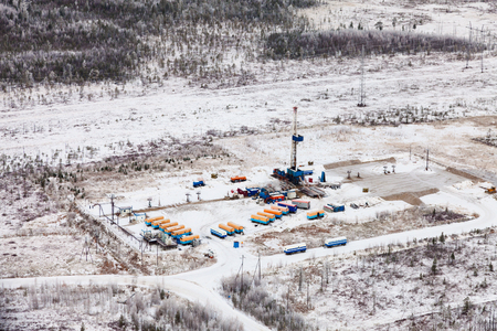 overhand: oil rig in the winter Stock Photo