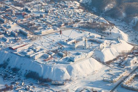Tobolsk. Tyumen region. Russia - February 08, 2017: the Kremlin from above during cold winter day