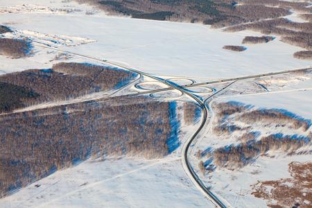 chelyabinsk: Highway in winter, top view
