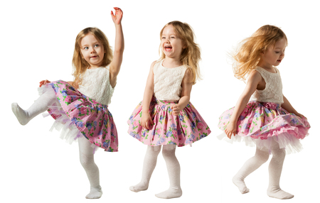 minx: Cute little girl jumping with joy isolated on white background Stock Photo