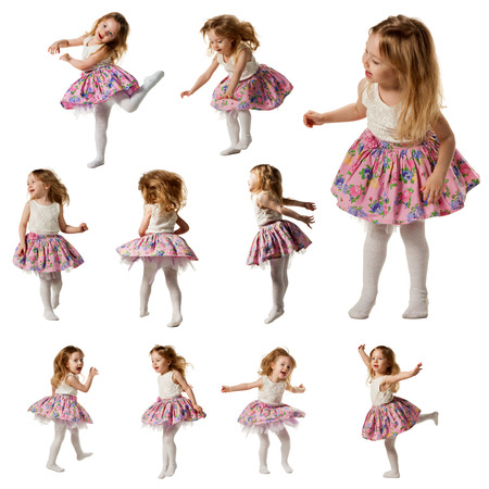 songster: Cute little girl sing song and is dancing isolated on white
