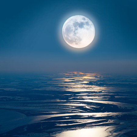 Lunar path on the lowland of Great river, top view Stock Photo