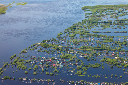 Flooded terrain in lowland of the Great River