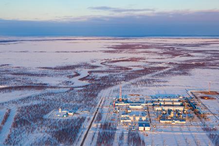 Gas processing plant, a top view Reklamní fotografie - 100618333