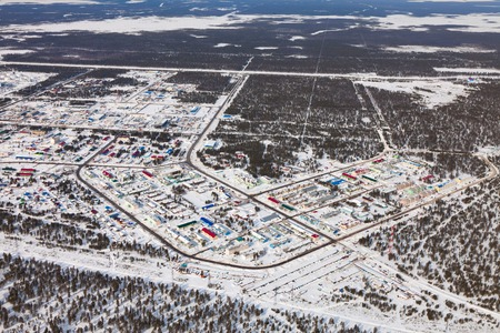 Vyngapurovsky is oilmans village in West Siberia, birds eye view Reklamní fotografie - 100754856