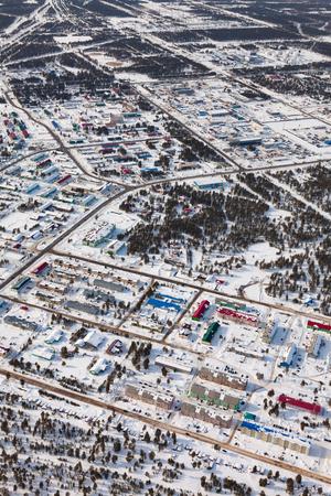 Vyngapurovsky is oilmans village in West Siberia, birds eye view Reklamní fotografie - 100618340