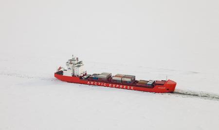 Icebreaker on Yenisei river, top view Reklamní fotografie - 100628046