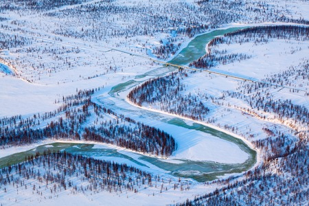 Top view of gas pipeline in tundra Banque d'images