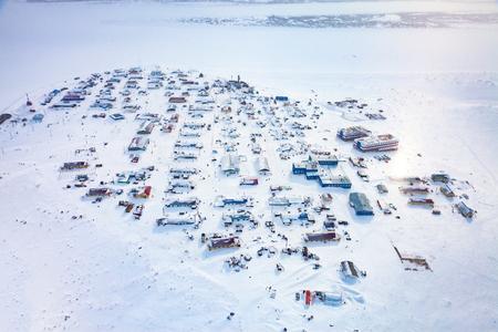 National Nenets reindeer herding village Nosok in the north Krasnoyarsk region, aerial view Reklamní fotografie - 101019635
