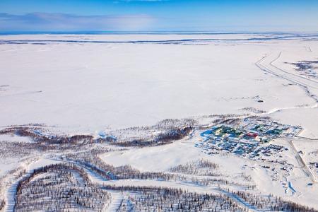 Oilmans village in Yamal, birds eye view Reklamní fotografie