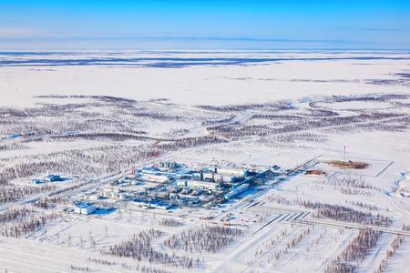 Gas processing plant, a top view Reklamní fotografie