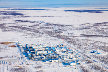 Gas processing plant, a top view Reklamní fotografie - 100856684