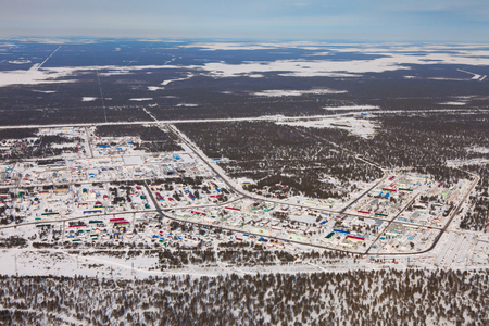 Vyngapurovsky is oilmans village in West Siberia, birds eye view