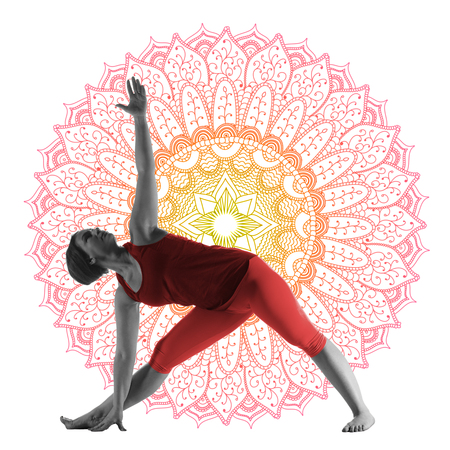 Woman making yoga exercise Reklamní fotografie - 101987903