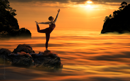Yoga Woman Meditating At Sundown