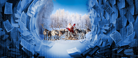 Santa Claus and his deer in Cristmas holiday 写真素材
