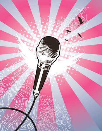 Angel Mic. All elements on seperate layers. Detailed flower motif in background. Vector