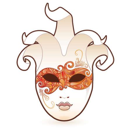 arlecchino: Mascherata. Maschera di occhio cachemire altamente dettagliata su un carattere bianco.  Vettoriali