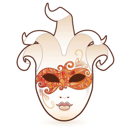 Masquerade. Highly detailed paisley eye mask on a white character.  Vector
