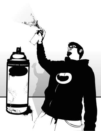 spray paint can: Tagger. Silhouettes of can and artist exist separate from the white and can be used for a simple effect. All vector graphics separated onto layers Illustration