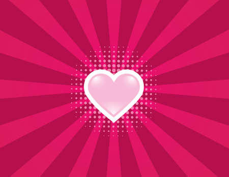 Simple heart background with rays and halftone. Separated elements.