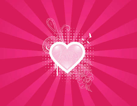 More detailed heart background. Separated elements. Illustration
