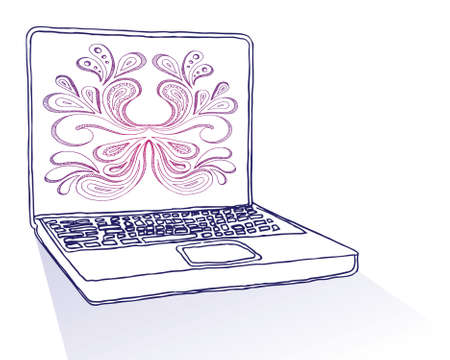 hands on keyboard: Hand drawn laptop with floral design.