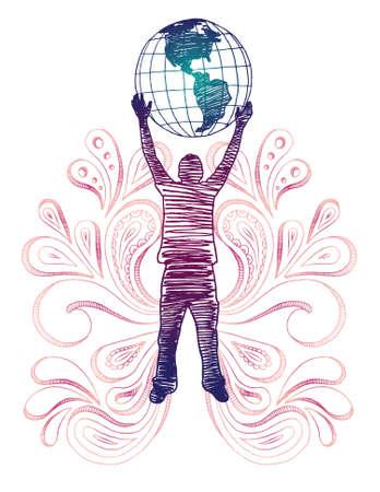 holding globe: Sketchy silhouette di man holding globo con paisley. Tutti gli elementi separati.