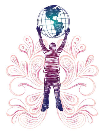 Sketchy silhouette of man holding globe with paisley. All elements separated.