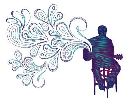 Sketchy silueta de persona tocando la guitarra con forma de sonido. Todos los elementos separados.  Foto de archivo - 7085173